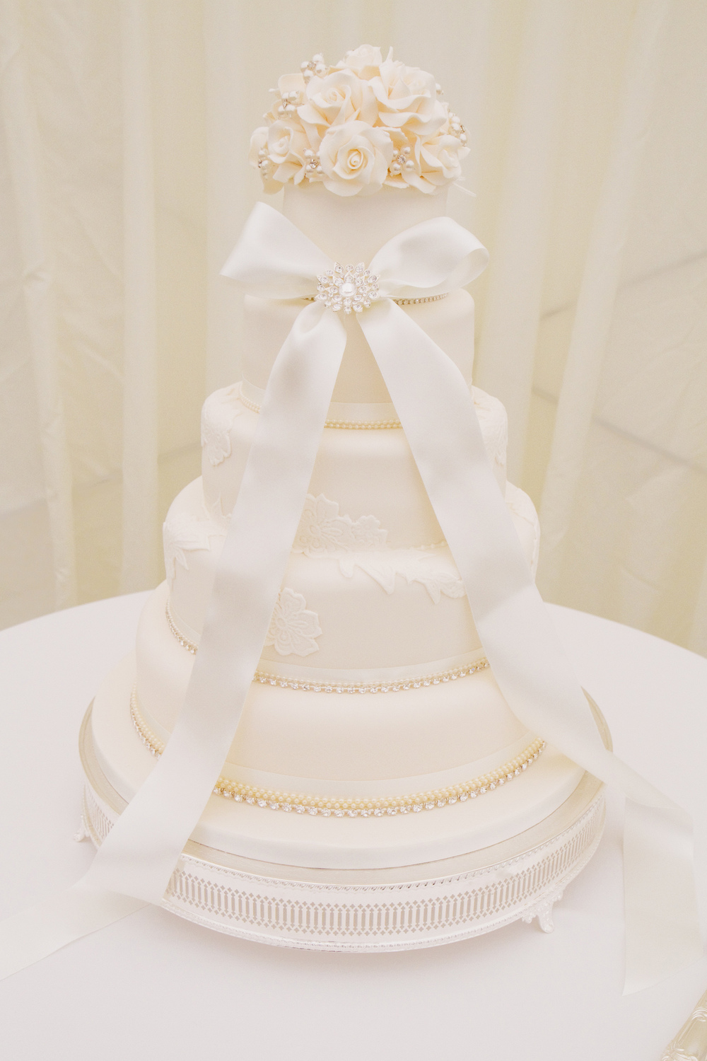 5 Tiered Ivory Wedding Cake, Helen England Photography, Kent, U.K