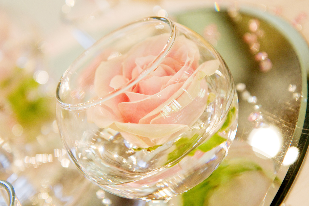 Rose in Glass Table Decor, Helen England Photography, Kent, U.K