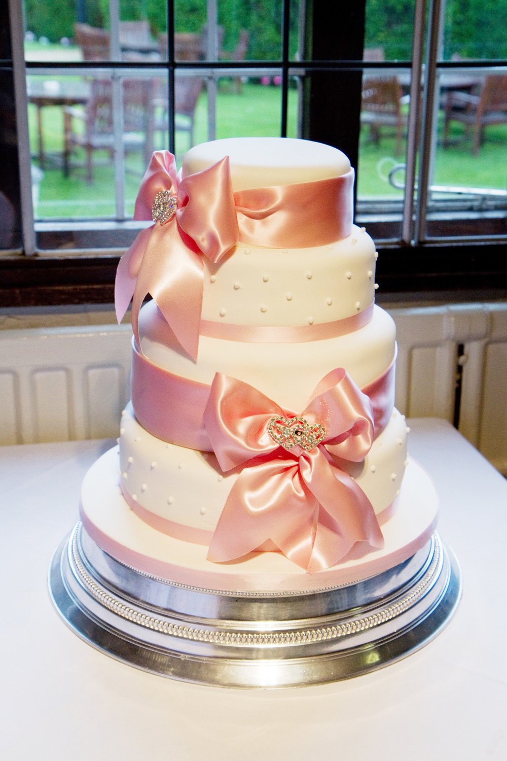 Four Tiered Wedding Cake, Pink Ribbon, Helen England Photography, Kent, U.K
