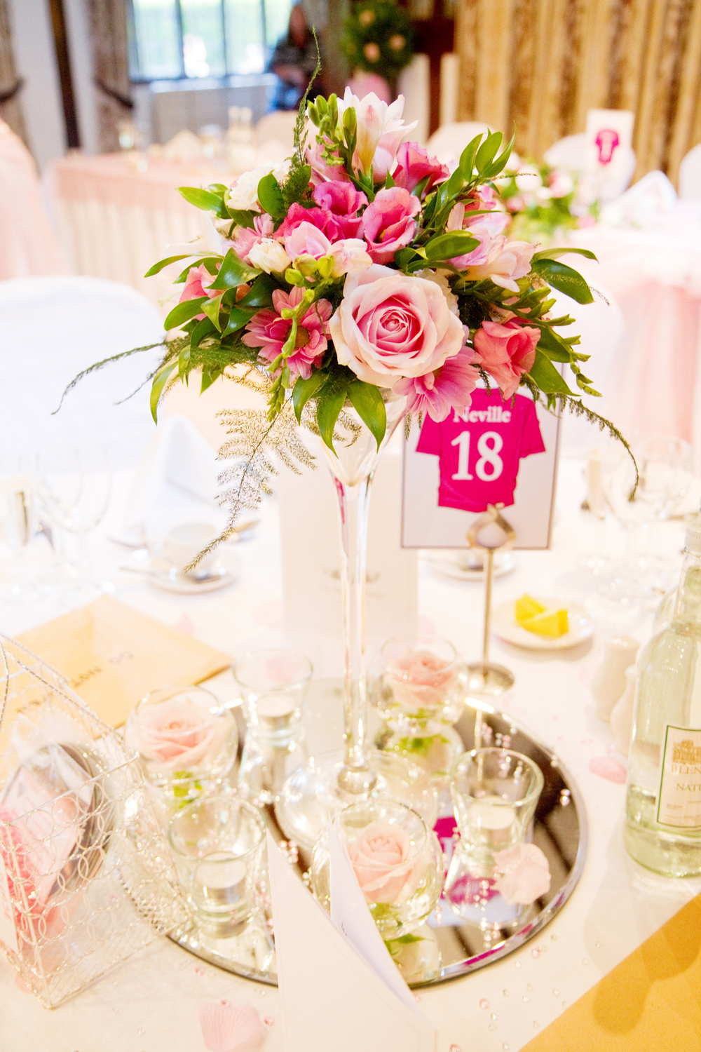 Pink Flower Centre Piece, Helen England Photography, Kent, U.K