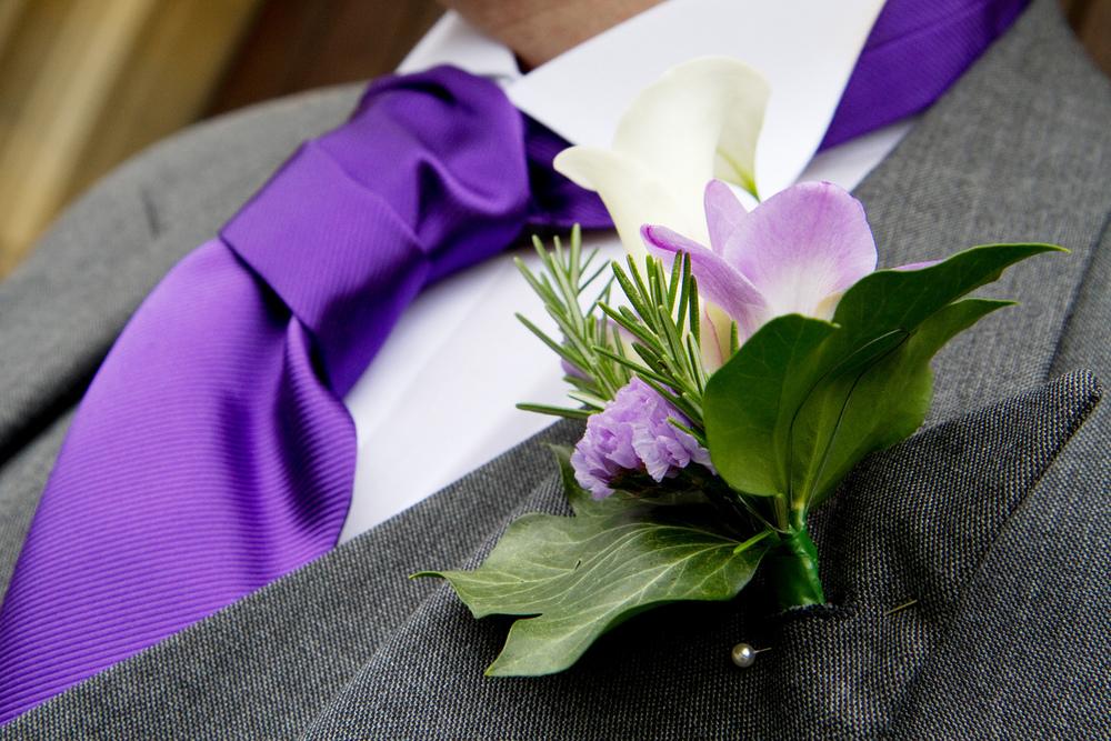 Purple Flower Buttonhole, Helen England Photography, Kent, U.K