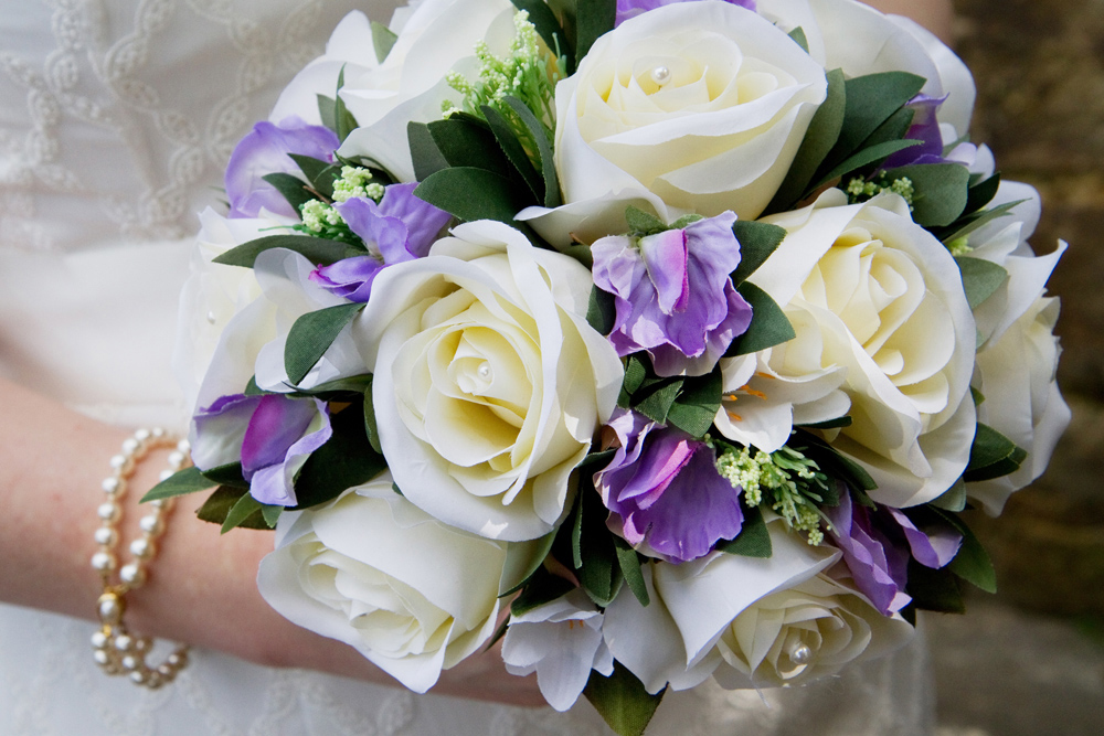 White & Purple Bride's Bouquet, Helen England Photography, Kent, U.K