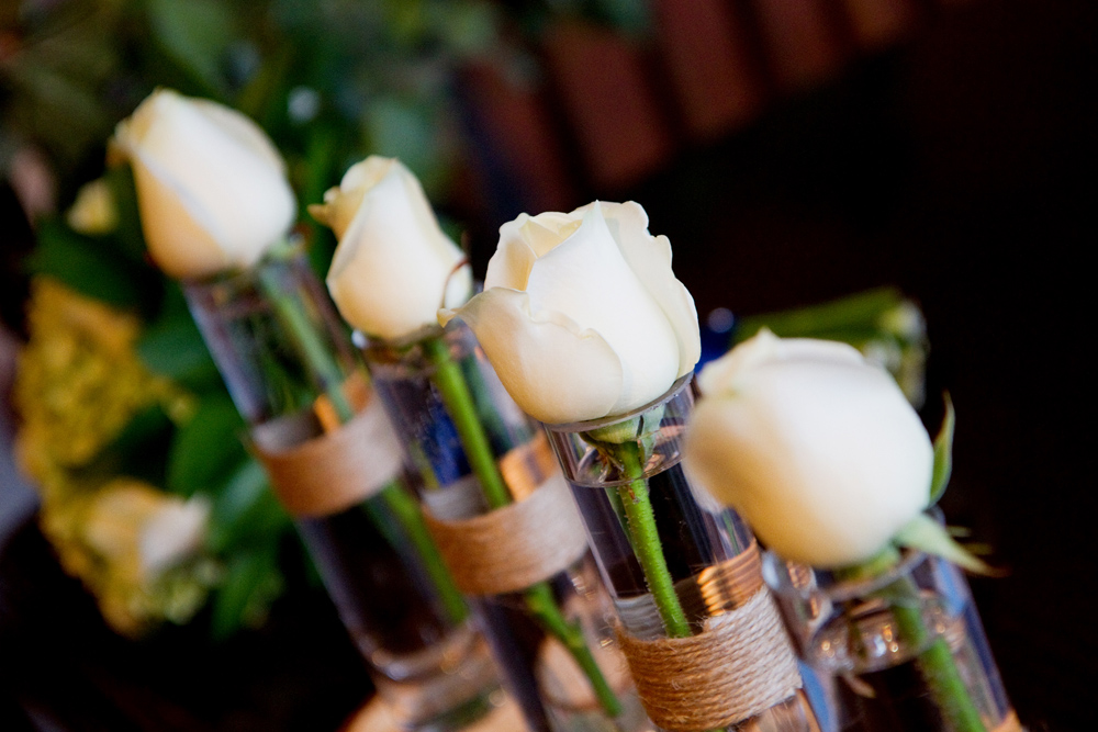 White Rose Wedding Centrepiece, Helen England Photography, Kent, U.K