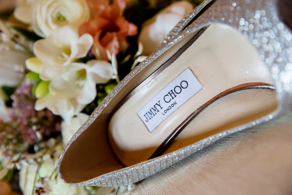 jimmy choo wedding shoes, winter wedding at Upwaltham Barns by Helen England Photography, Kent