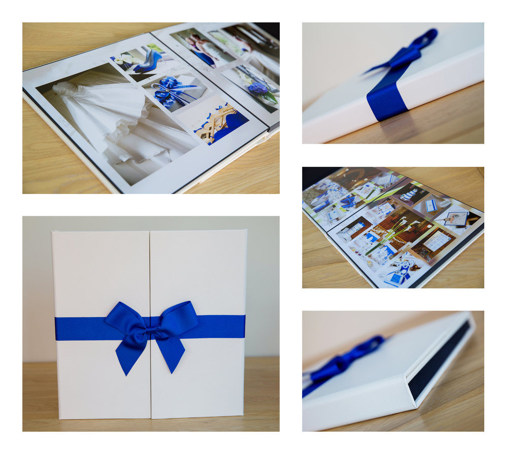 wedding album with blue bow, Ashdown Park Hotel wedding by Helen England Photography