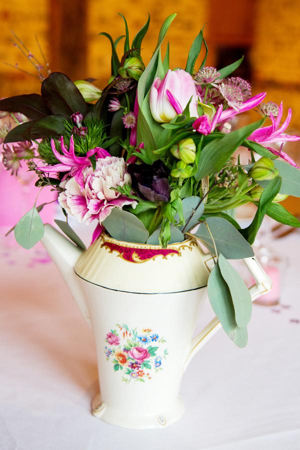 Teapot & Flowers Wedding Centrepiece, Helen England Photography, Kent, U.K