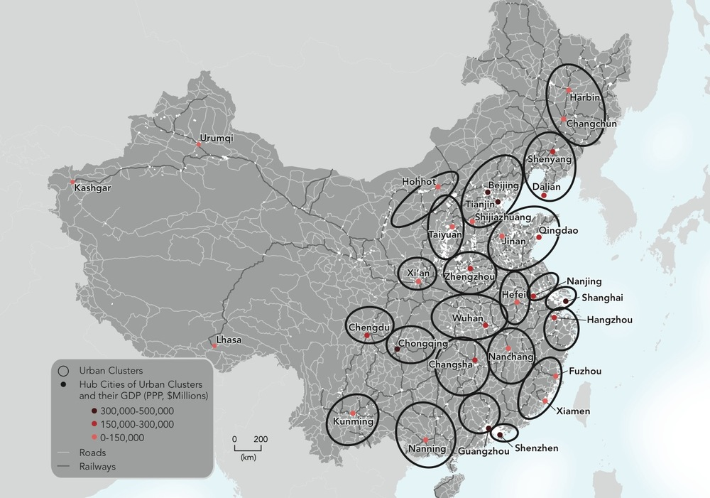 Urban clusters in China driven by third-tier cities.