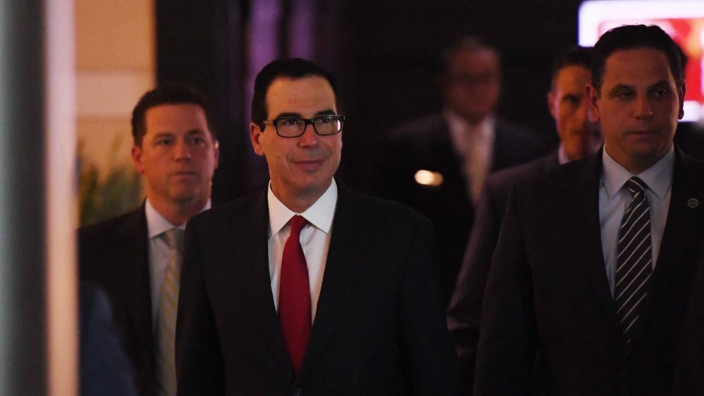 Treasury Secretary Steven Mnuchin heading to the U.S. embassy in Beijing for trade talks on May 3, 2018. Photo: Greg Baker/AFP via Getty Images