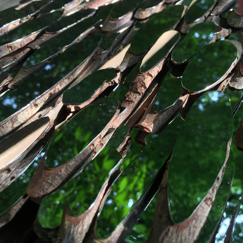 Section of 'Weeping Willow' - willow and mirror-finished stainless steel.