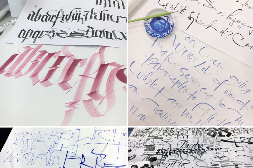 Top left:  Gothic by Brody Nuenschwander |  Top right:  My Gestural script |  Bottom left:  Brody's lettering art |  Bottom right:  Collaborative lettering by the class