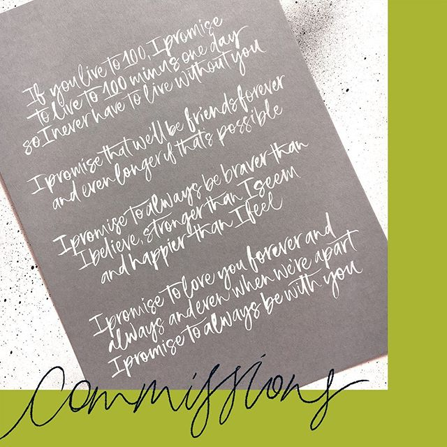 Wedding vows, hand lettered in white ink on grey card, make a perfect first wedding anniversary gift