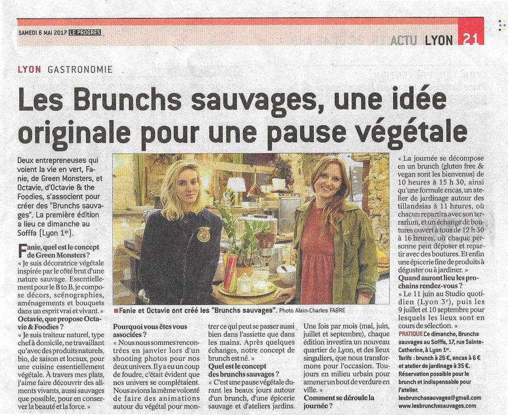 05/17. LE PROGRÈS. Les Brunchs Sauvages, une idée originale pour une pause végétale...