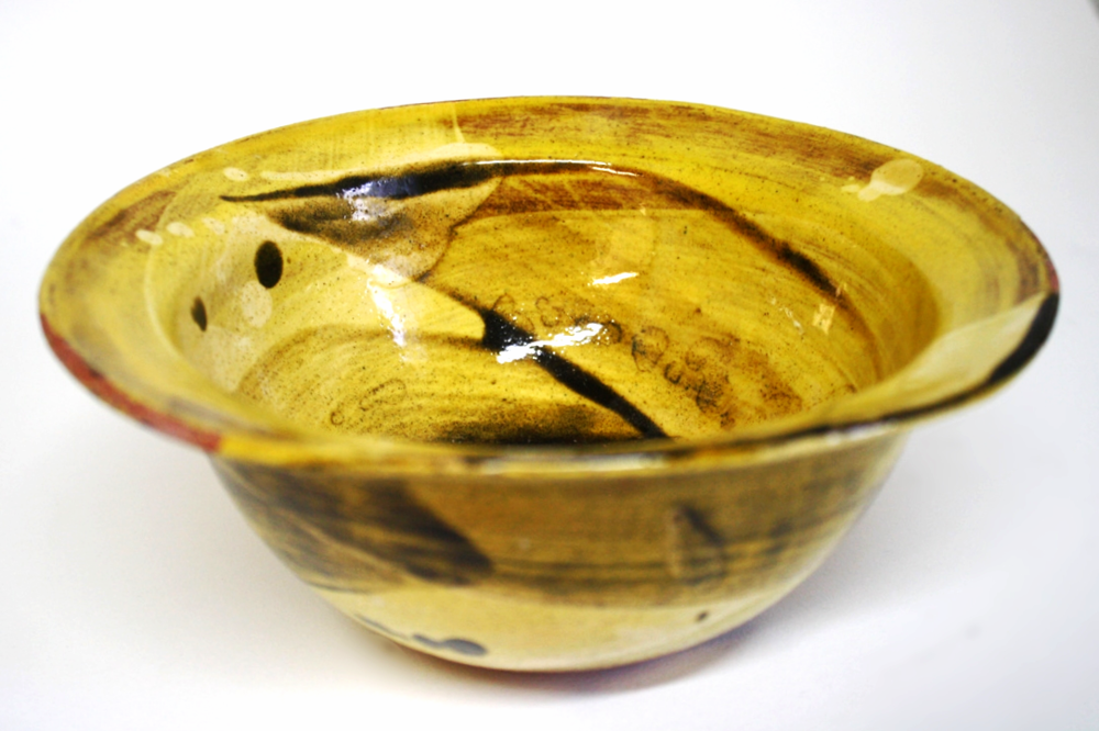 Honey Glazed Swoosh Bowl with lip