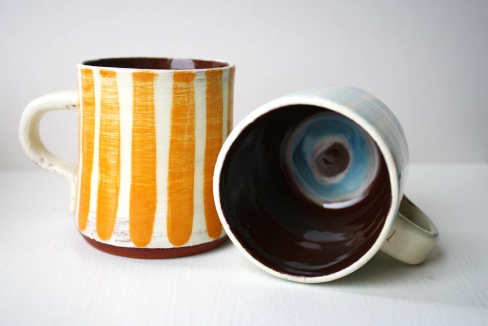 Cambridge Stripe espresso mugs in Marigold and Skye Blue
