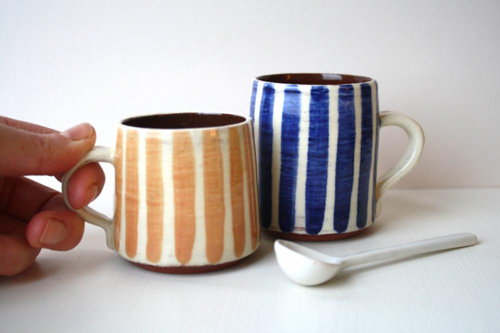 Cambridge Stripe espresso mugs in Old Rose and Cobalt Blue