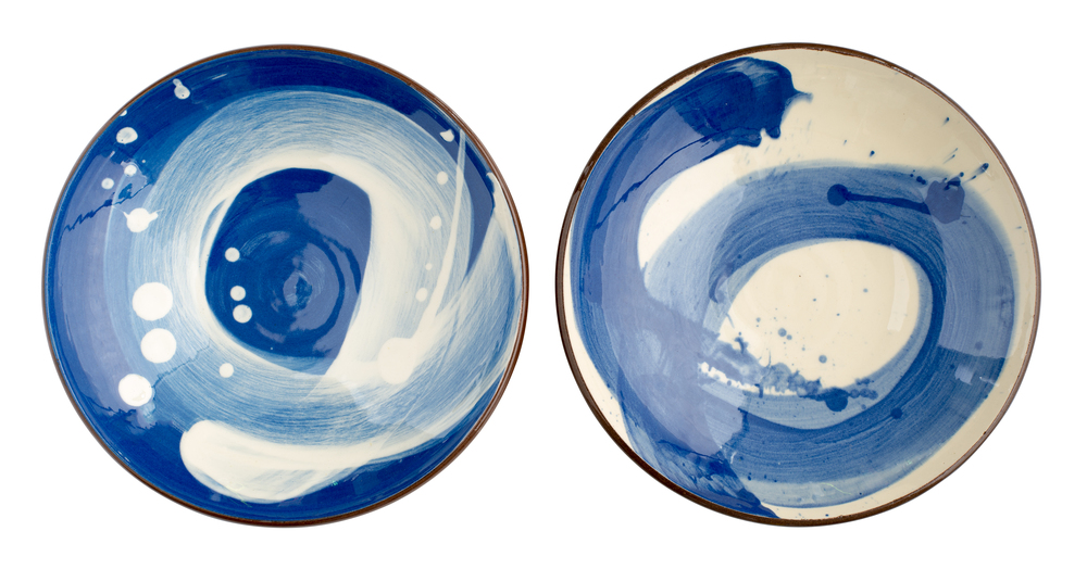 Pair of shallow Swoosh bowls in Cobalt Blue and Ivory