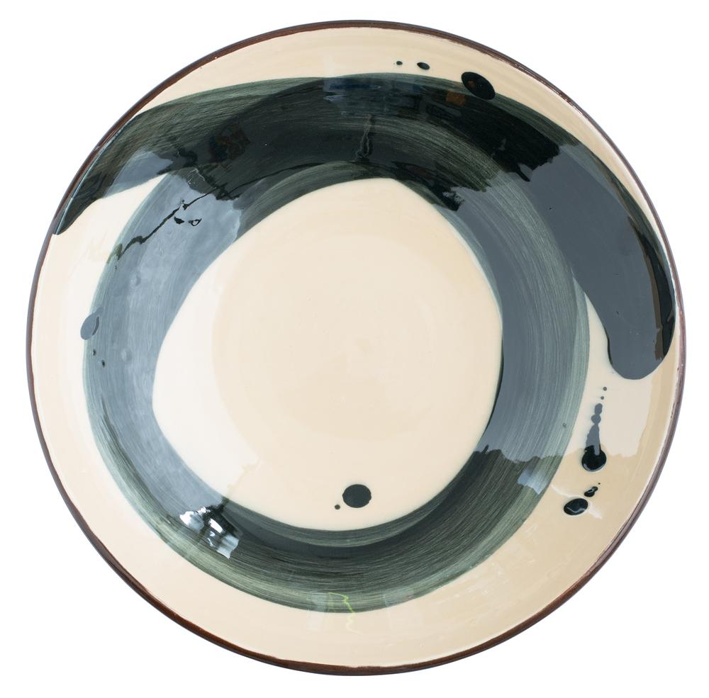 Large shallow Swoosh bowl - Black on Blush