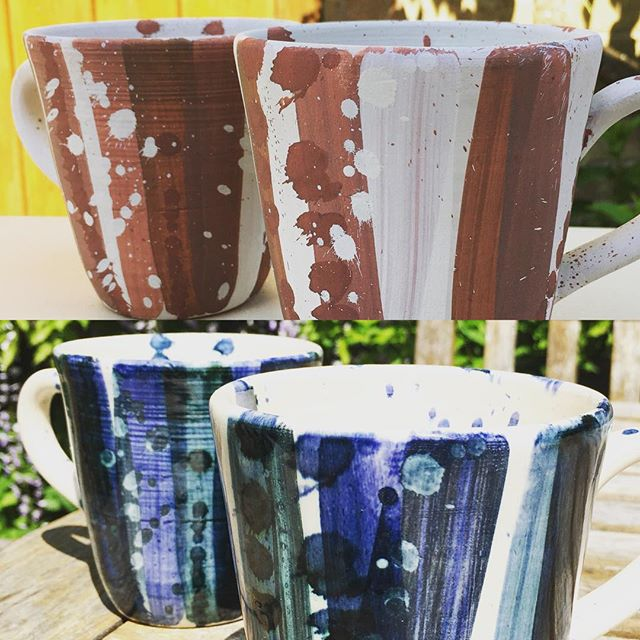Mug shot . Lots of you seem to love the natural, earthy tones of the freshly decorated mugs shown here on the top picture, but once glazed they end up bright blues & greeny colours 🤗  #sallyjodesign #handmadeceramics #ceramicmug #uniquegifts