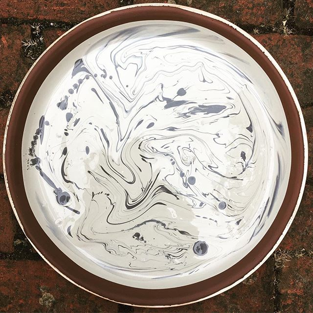 Miss Marble, first attempt!  #terracottaplatter #trysomethingnew #slipdecoration #traditionaltechniques #handmadeceramics #hampshirepotter #sallyjodesign
