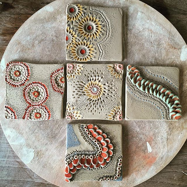 Textured tiles made on our latest 1-day pottery workshop at The Sally Marien Studio. Loading the kiln with everyone's fab creations for first firing, can't wait to see the results.  #potteryworshop #cleverstudents #sallyjodesign #sallymarienstudio #slipdecoration #handmadetiles #expermental #design #loveclay
