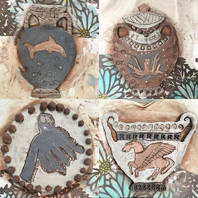 Ancient Greek pottery workshop just finished for year 5. One of my highlights of the year, apart from the clear up, and this year's pots features all sorts of myths and legends from Achilles and Pegasus to dolphins and the Minoan Malteser Octopus 🐙 A great creative bunch, thanks for having me back to mess up your classroom all over again 😜  #potteryworkshop #loveclay #inspire #learnthroughplay #greekmythology #seacreatures #slipdecoration #hoorayforclay