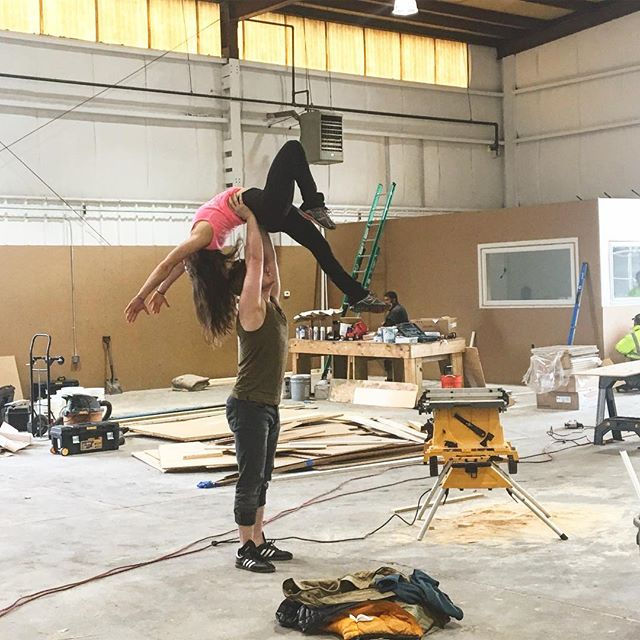 Spoke members @steveminnihan and @iamherscules at the new circus school they are starting in Boston called the @commonwealthcircus center! Construction is almost done. Garage doors are open. It's almost summer! #buildingacircus #circuseverydamnday #spokelove