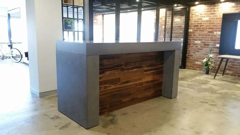 Concrete reception benchtop for Mint Constructions