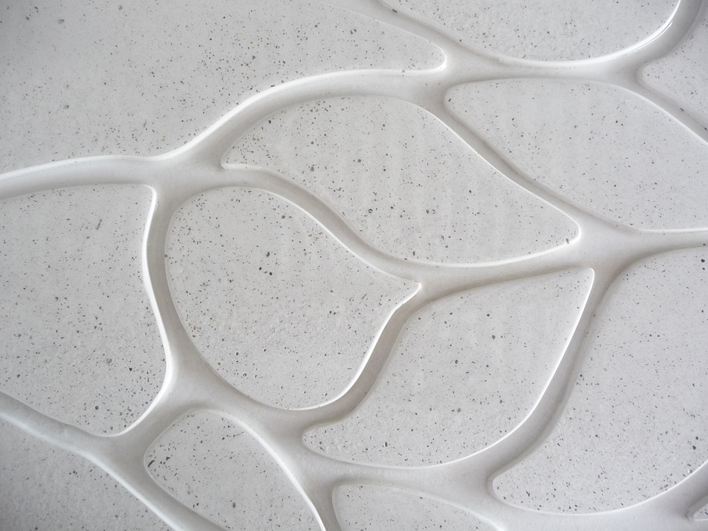 white floral concrete wall tile