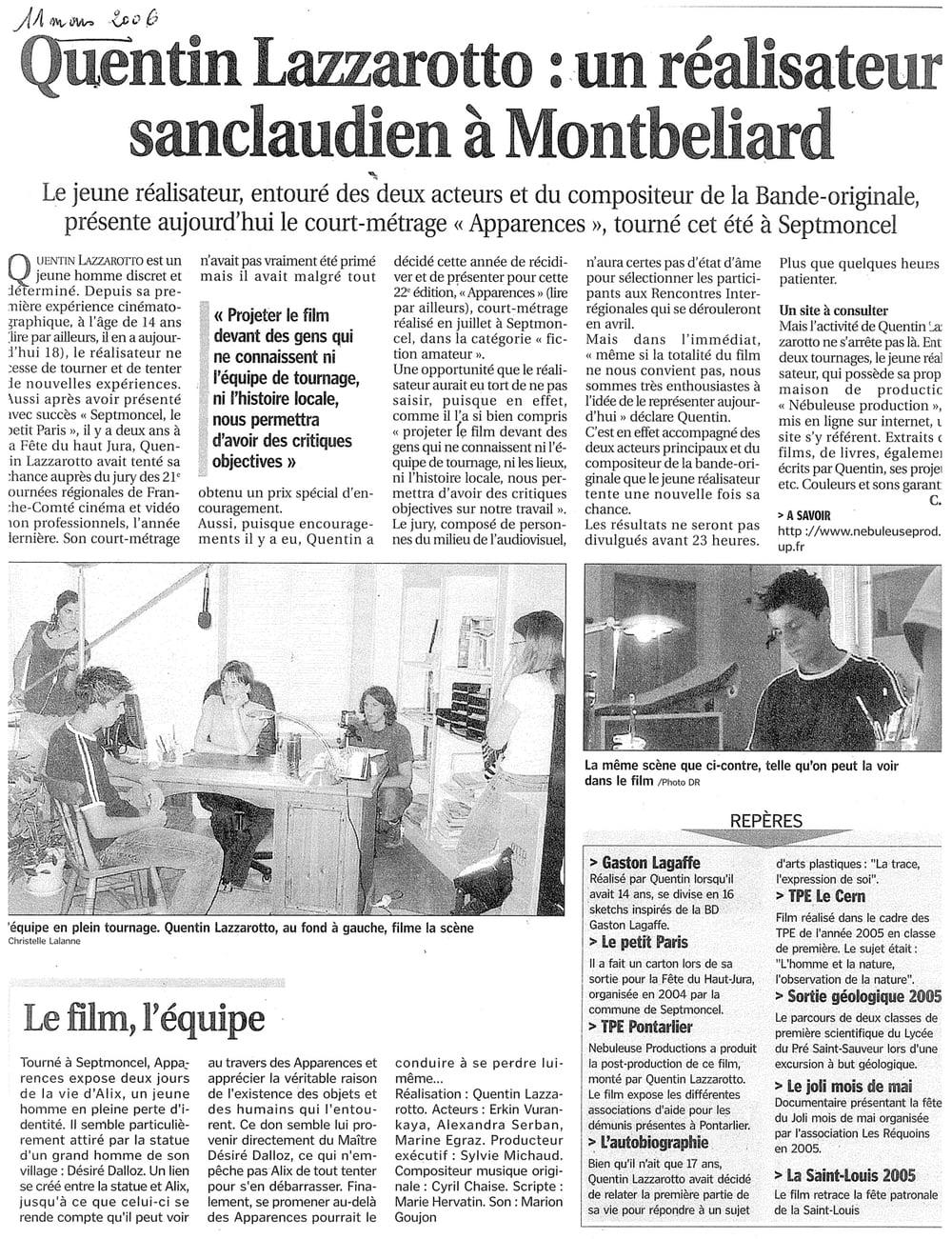 Quentin Lazzarotto : un réalisateur sanclaudien à Montbéliard
