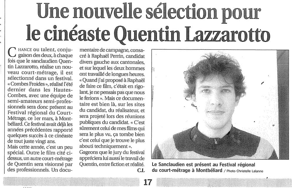 Une nouvelle sélection pour le cinéaste Quentin Lazzarotto
