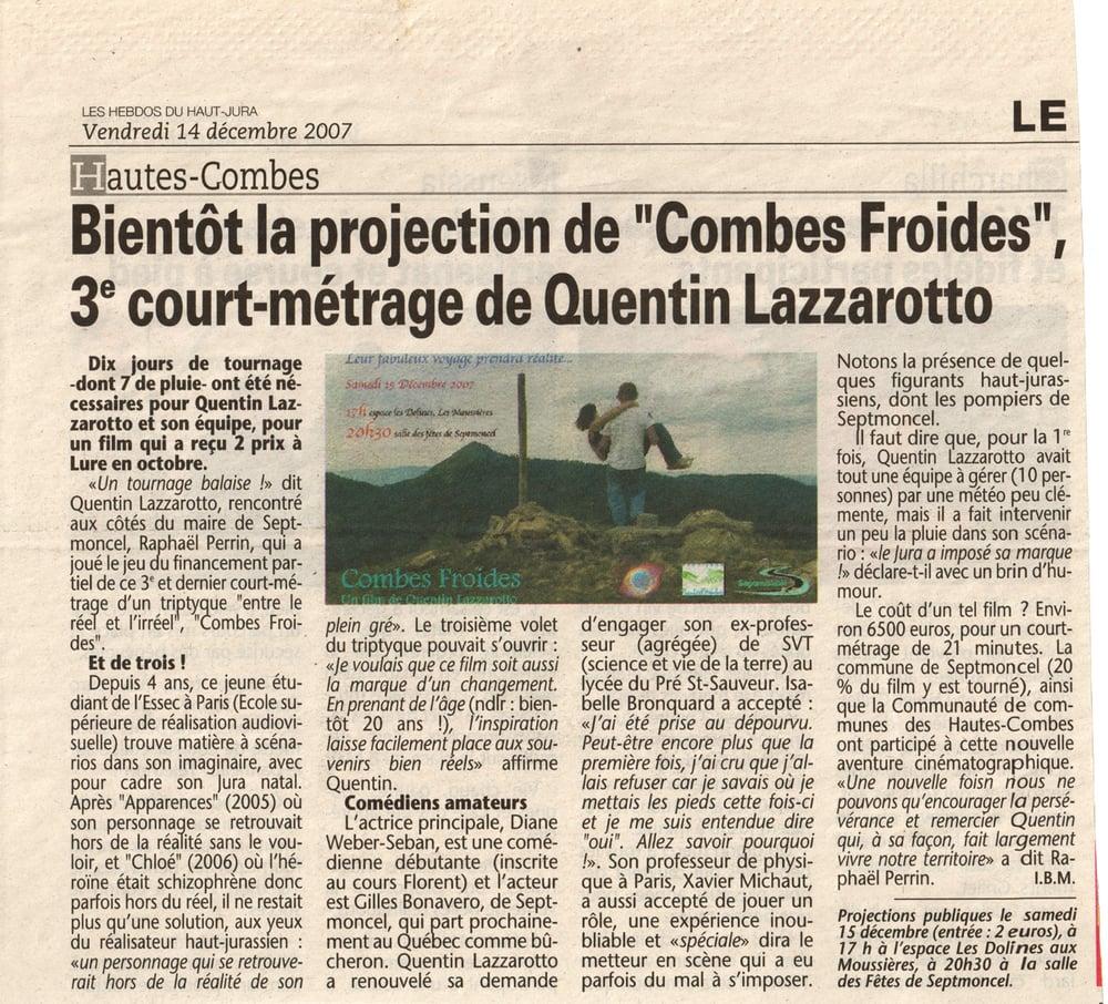 Bientôt la projection de Combes froides, 3ème court-métrage de Quentin Lazzarotto