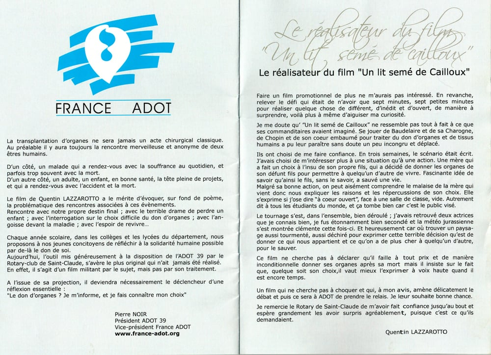 Note du realisateur à l'occasion de la premiere projection
