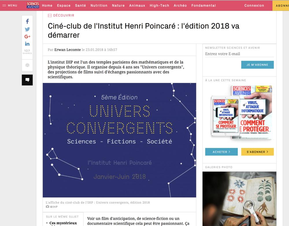 ciné-club de l'Institut Henri Poincaré : l'édition 2018 va démarrer