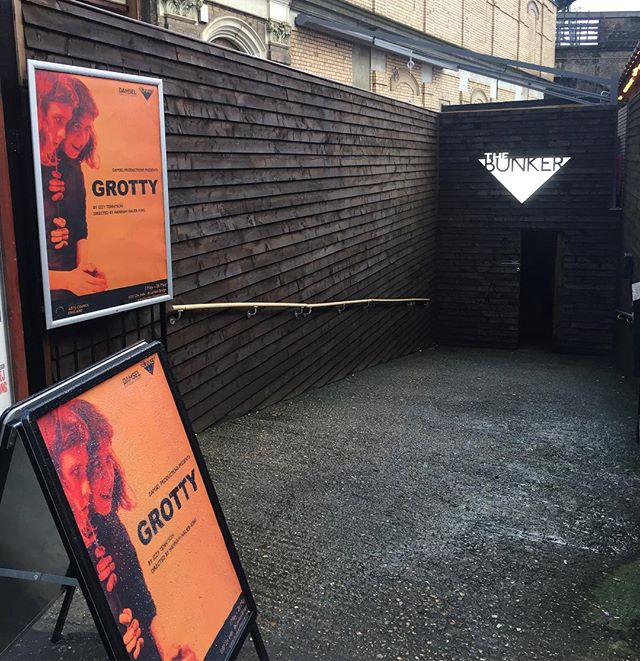 Had a great evening at the opening of #BlueDevil @bunkertheatreuk tonight. Massive congratulations to the amazing cast and creative team! Was great to see our #grottyplay posters up outside the theatre. . . . . . . . . #theatre #fringetheatre #damselproductions #thebunker #londonbridge #lgbt #lgbttheatre #lbgtarts #womenintheatre #lesbiantheatre #grotty #satire #play #izzytennyson #hannahhauerking