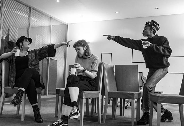 The cast of GROTTY in rehearsals. This fiery and funny new play comes to @bunkertheatreuk 1-26 May 🔥 tickets from £10! Link in bio. . . . . . . . . #theatre #play #womenintheatre #newwriting #grottyplay