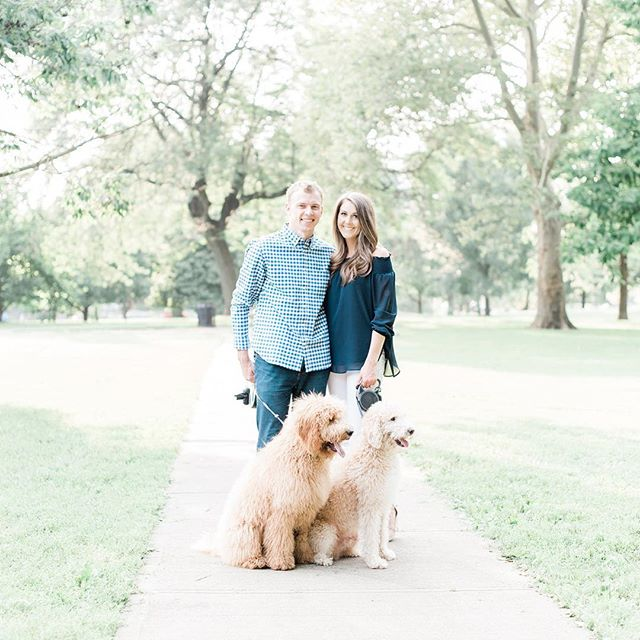 It's wedding week for Christine and Corey, and their engagement session just hit the blog! Complete with their adorable furbabies 😍 Link in profile!