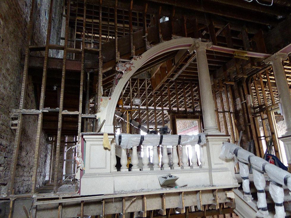 Staircase and landing - during restoration