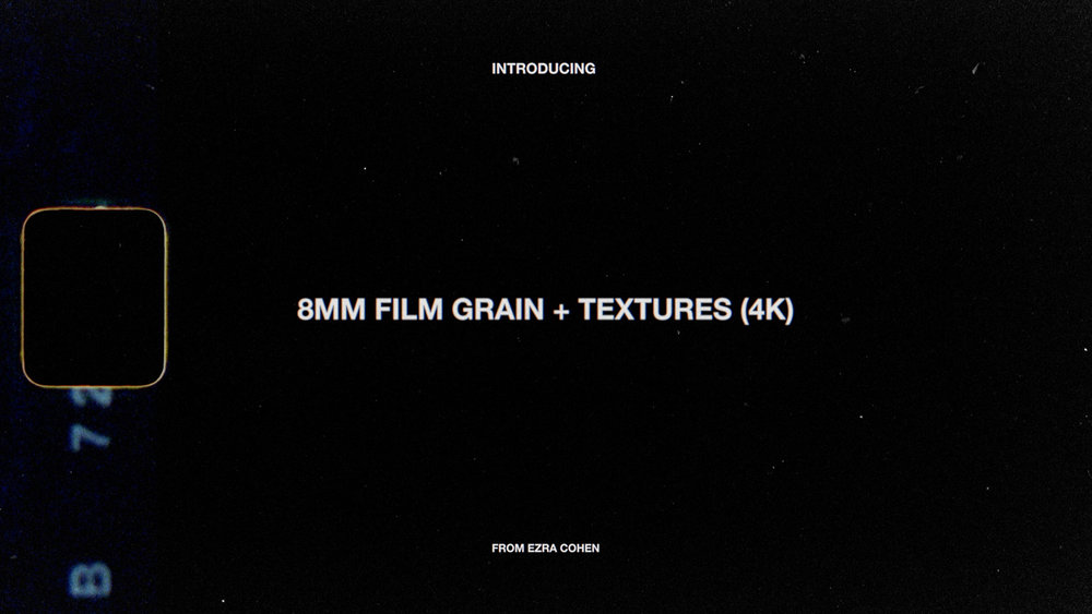 $29 - 8MM GRAIN + TEXTURES (v3.0)  Film grain overlays + textures from real Kodak 8mm film. Quickly transform dull digital footage.   Available in HD and 4K!