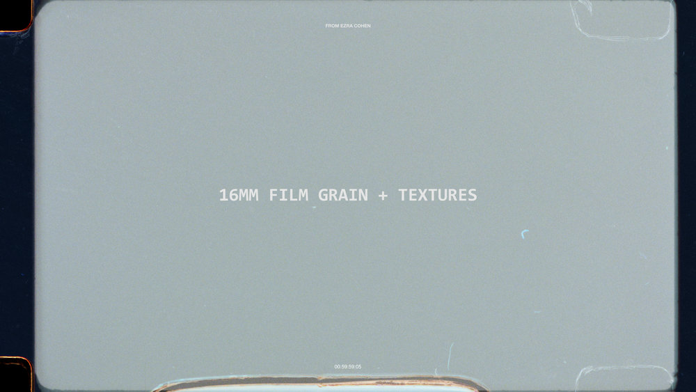 (NEW)  16MM GRAIN + TEXTURES |  $39+   Film grain overlays + textures from real Kodak 16 mm film. The most comprehensive pack on the market with elements including color grain, animated frame mattes, perforated borders, and burns.     Available in HD and 4K!
