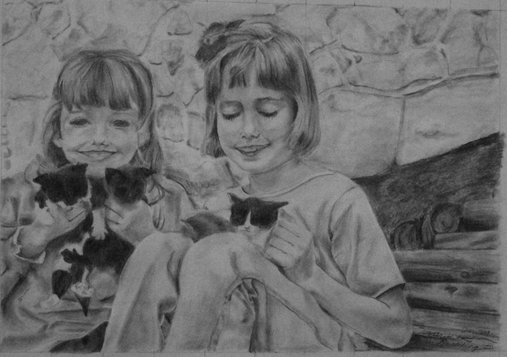 Two Young Girls | Ebony Pencil on Paper