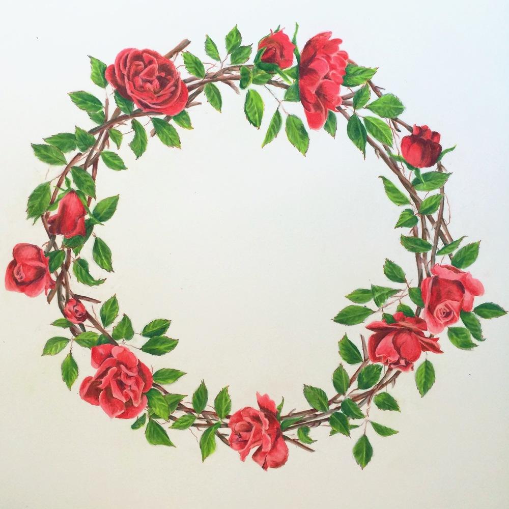 Rose Wreath | Colored Pencil on Bristol Paper