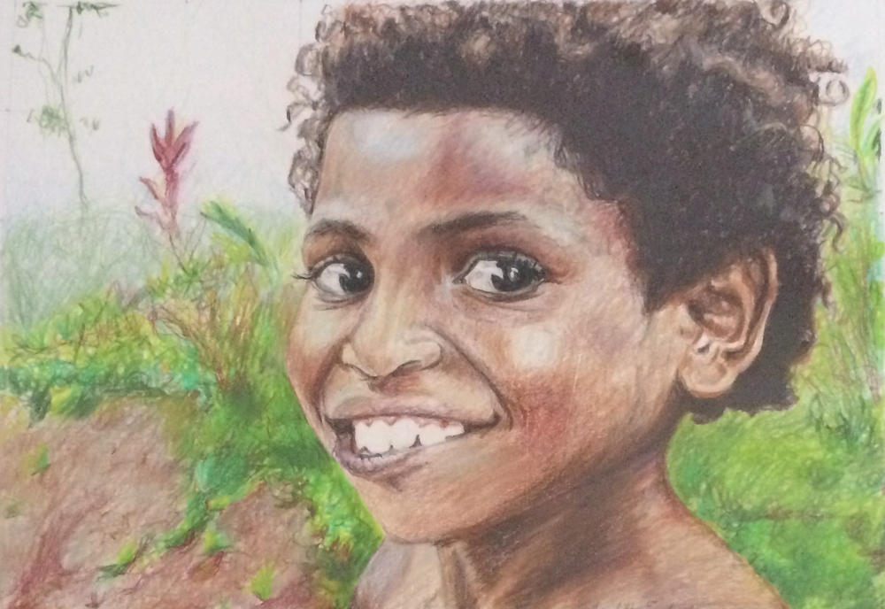 A Girl from Mibu Papua New Guinea | Colored Pencil on Paper