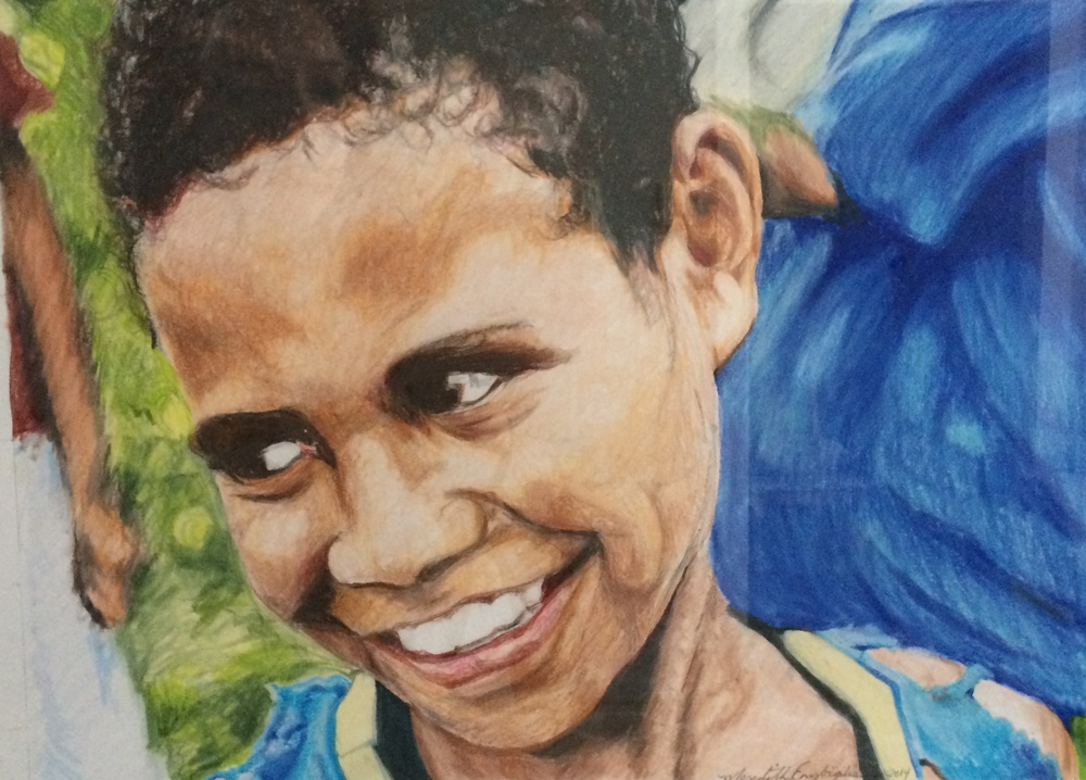 A Girl from Mibu in Blue | Colored Pencil on Paper