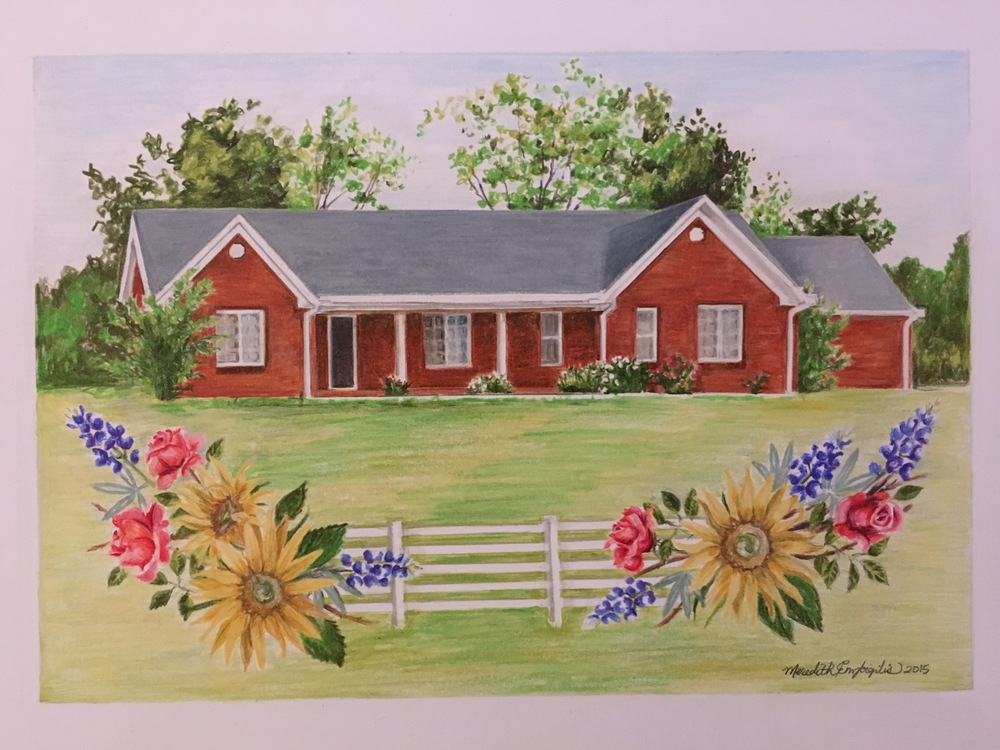 Tennessee House Portait | Colored Pencil on Bristol Paper
