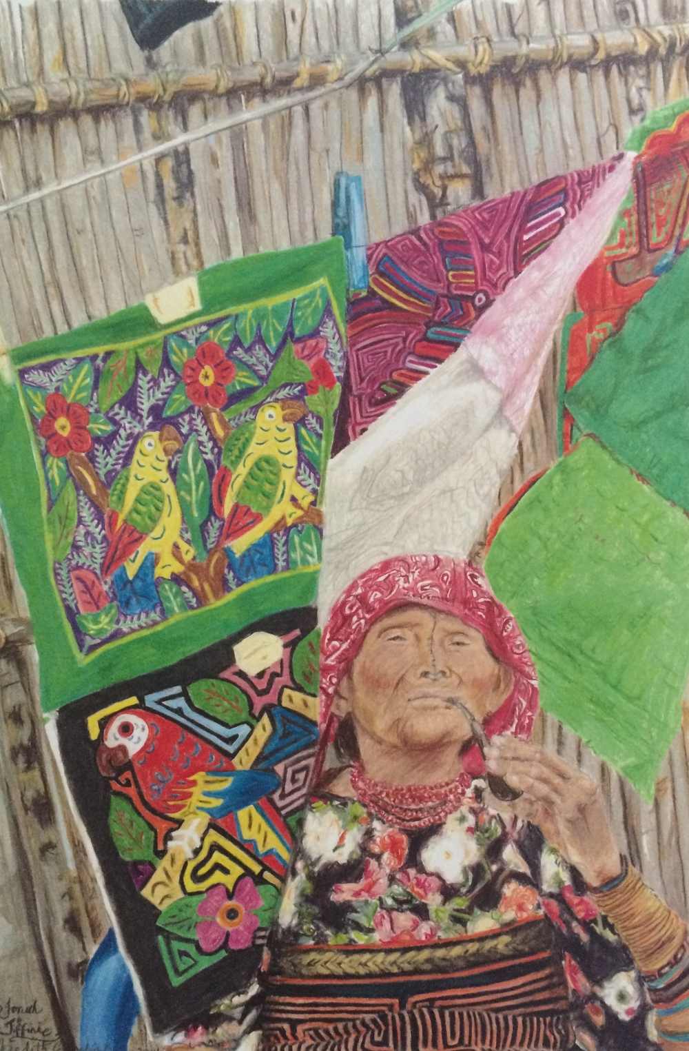 Kuna Lady Selling Molas | Colored Pencil on Paper