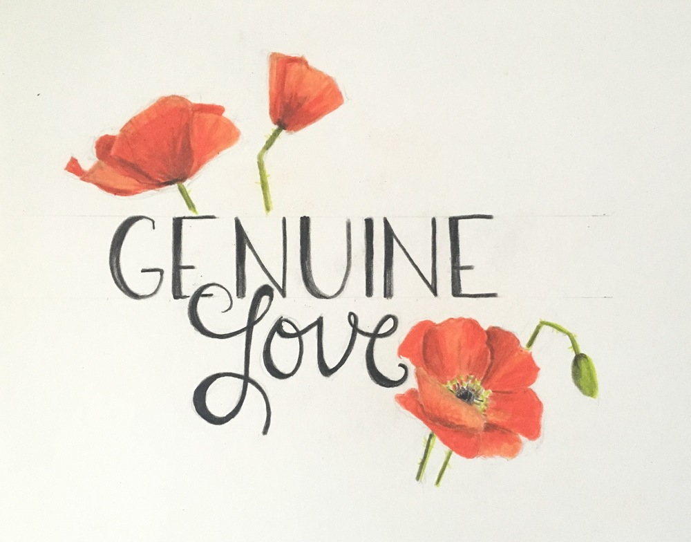 Genuine Love Logo | Colored Pencil on Bristol Paper