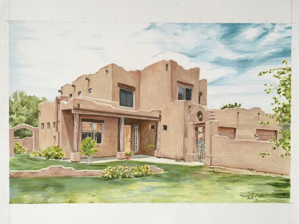 Arizona House Portrait | Colored Pencil on Bristol Paper