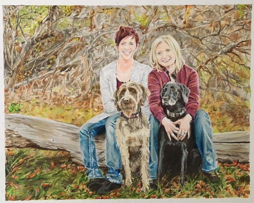 Mindy, Angie, Maeberry and Bender | Colored Pencil on Bristol Paper