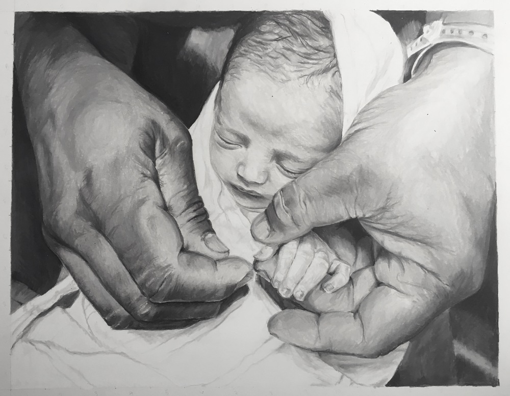 In Daddy's Hands | Colored Pencil on Bristol Paper