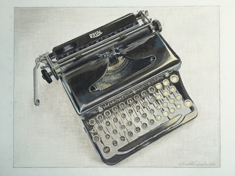 Mom's Typewriter | Colored Pencil on Bristol
